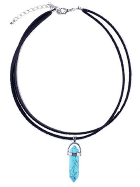 women's PU Leather Rope Faux Turquoise Pendant Necklace -   Mobile