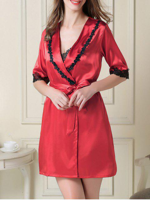 latest Satin Slip Dress and Belted Sleep Robe - RED XL Mobile