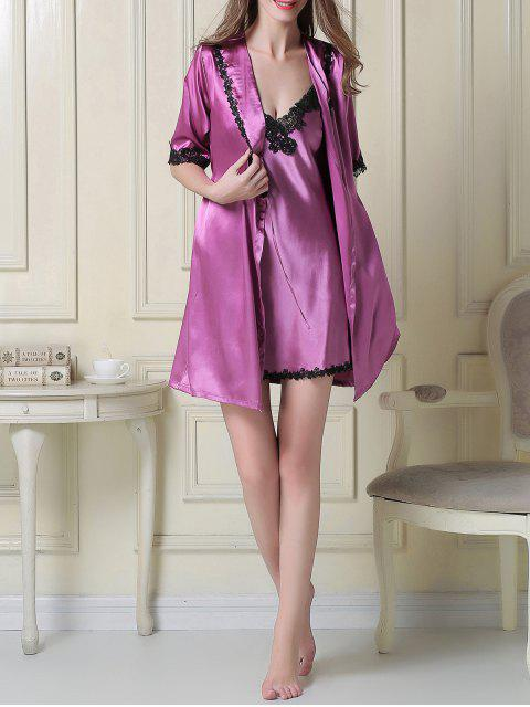 womens Satin Slip Dress and Belted Sleep Robe - PURPLE L Mobile