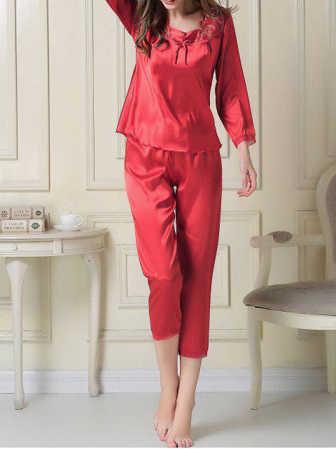 new Embroidered Satin Tee and Capri Pants Pajama - RED XL Mobile