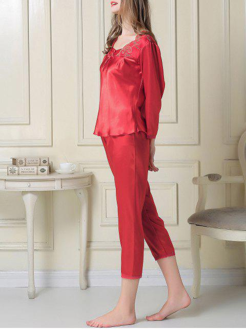 hot Embroidered Satin Tee and Capri Pants Pajama - RED L Mobile