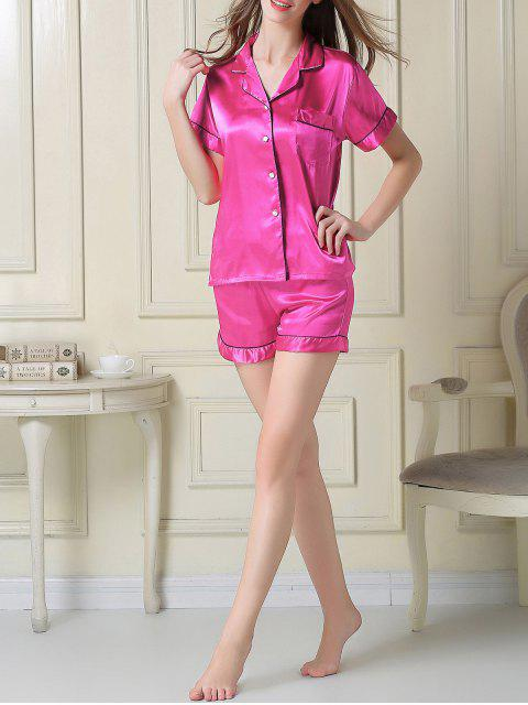 latest Short Sleeve Satin Boxer Pajama - ROSE RED XL Mobile