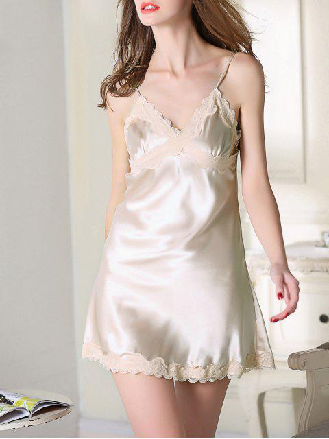 buy Lace Trim Satin Slip Sleep Dress - CHAMPAGNE XL Mobile