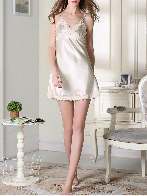 womens Lace Trim Satin Slip Sleep Dress - CHAMPAGNE L Mobile