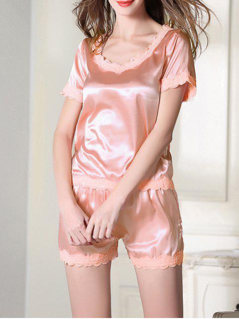 online Satin Scoop Tee Boxer Pajama - PINK 2XL Mobile