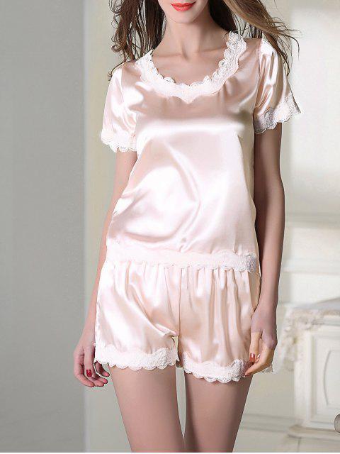 fancy Satin Scoop Tee Boxer Pajama - LIGHT PINK M Mobile