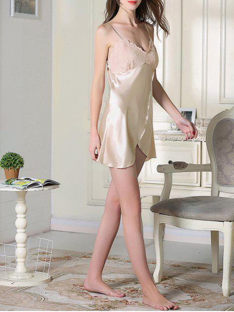 women's Lace Satin Slip Sleep Dress - CHAMPAGNE L Mobile