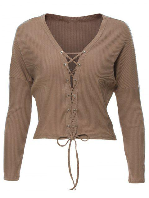 affordable Lace Up Ribbed Cropped Cardigan - KHAKI XL Mobile