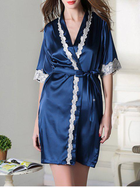 ladies Belted Satin Sleep Kimono Robe - ROYAL BLUE XL Mobile