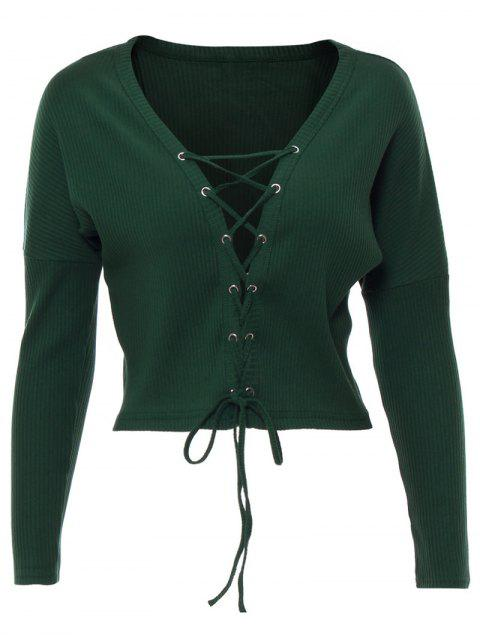 fancy Lace Up Ribbed Cropped Cardigan - BLACKISH GREEN L Mobile