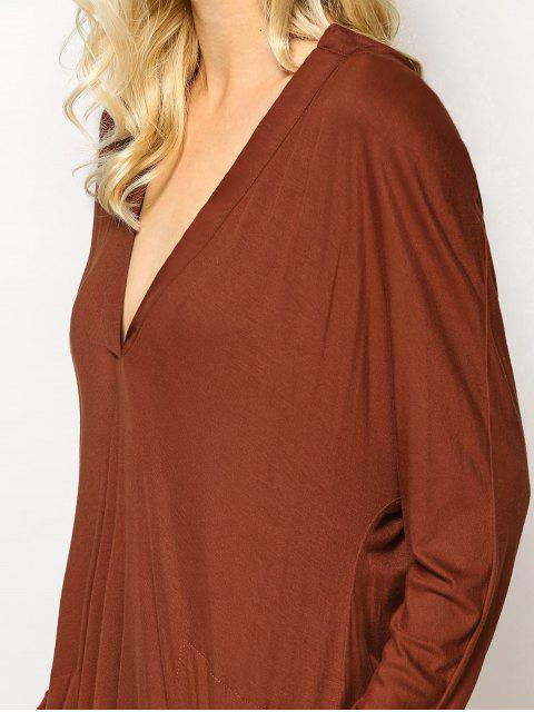 fancy Loose High-Low Dress - BROWN L Mobile