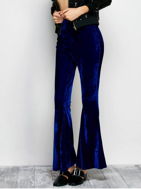shop Velvet Flare Pants - BLUE M Mobile
