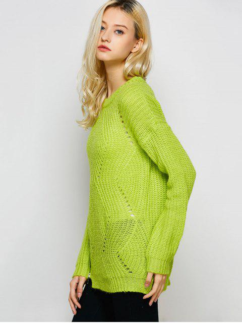 latest Open Stitch Sweater - LEMON GREEN 2XL Mobile