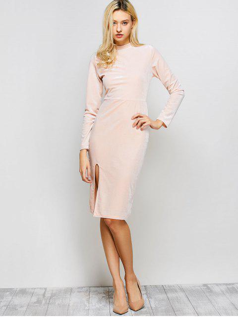 outfits Vintage Velvet Slit Dress - PINK M Mobile