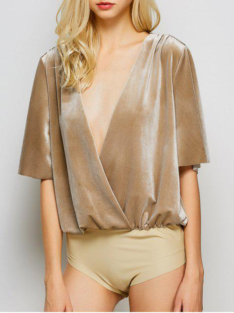 women's Velour Wrap Bodysuit - KHAKI M Mobile