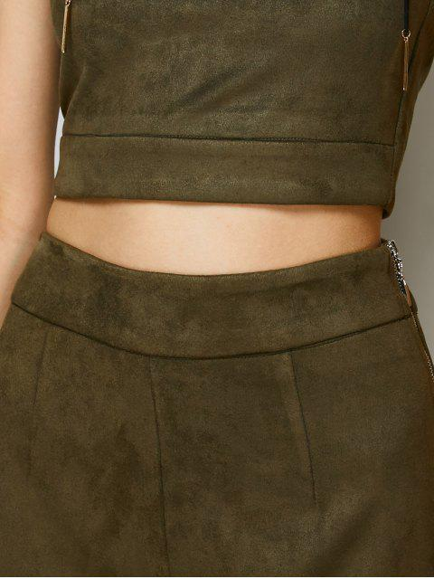 outfits High Rise Suede Pants with Tube Top - ARMY GREEN L Mobile