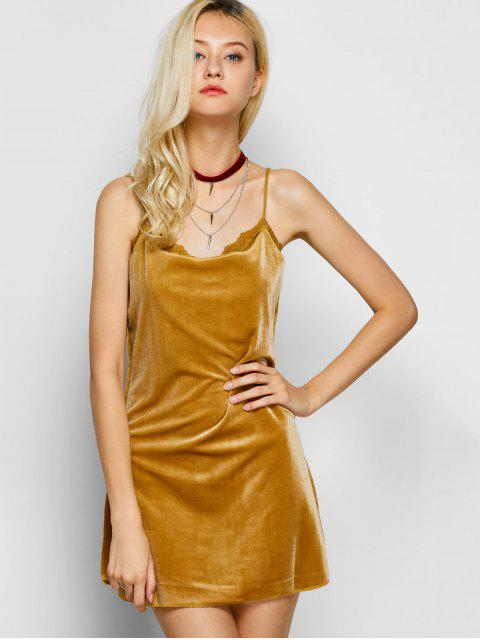 trendy Velour Lace Panel Mini Dress - YELLOW M Mobile