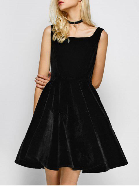 best Square Neck Velvet Vintage Dress - BLACK M Mobile