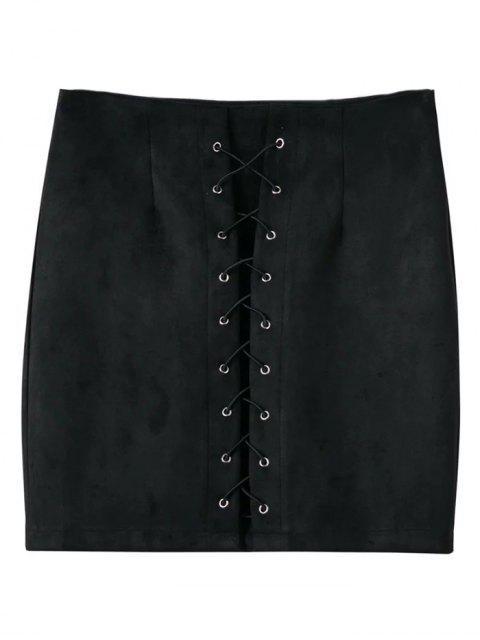 ladies Lace-Up Bodycon Skirt - BLACK L Mobile