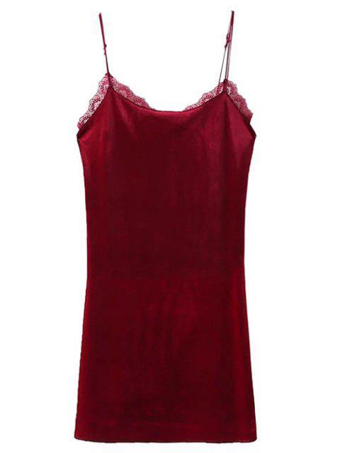 unique Velour Lace Panel Mini Dress - WINE RED S Mobile