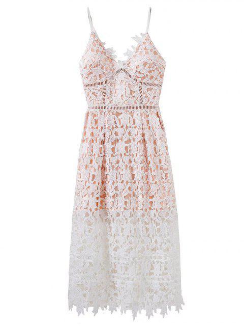 shop Lace Hollow Out Slip Dress - WHITE L Mobile