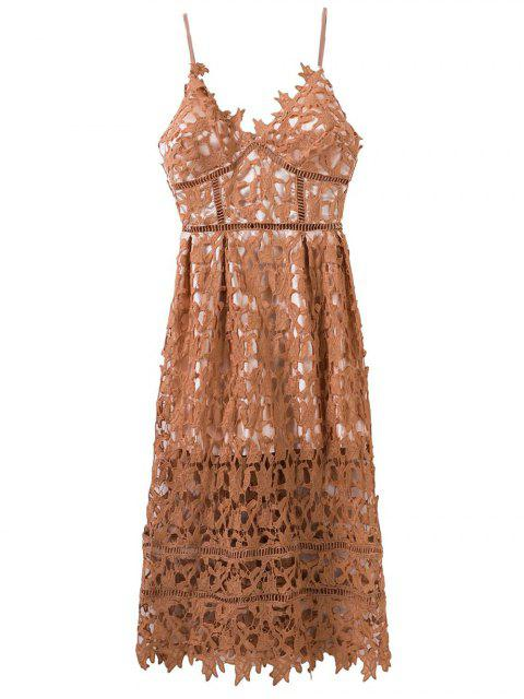 trendy Lace Hollow Out Slip Dress - LIGHT COFFEE L Mobile