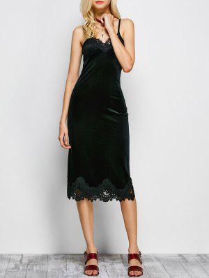 Cami Vestido De Panel De Encaje - Negro M