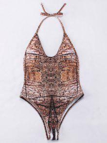 Backelss Tie-Dyed One-Piece Swimwear - Brown L