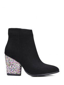 Zipper Glitter Chunky Heel Ankle Boots BLACK: Boots 39 | ZAFUL