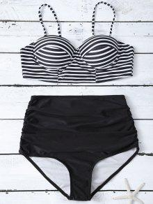 High Waist Striped Bikini Set - Black Xl