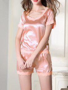 Satin Scoop Tee Boxer Pajama - Pink Xl