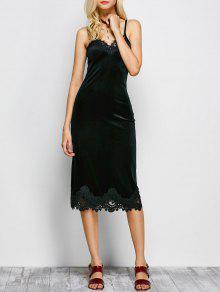 Cami Vestido De Panel De Encaje - Negro L