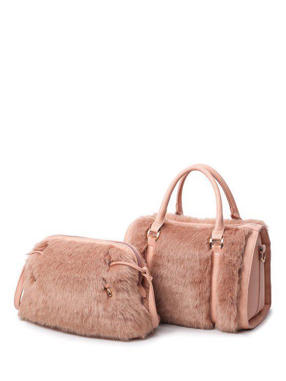latest PU Leather Metal Faux Fur Tote Bag - PINKBEIGE