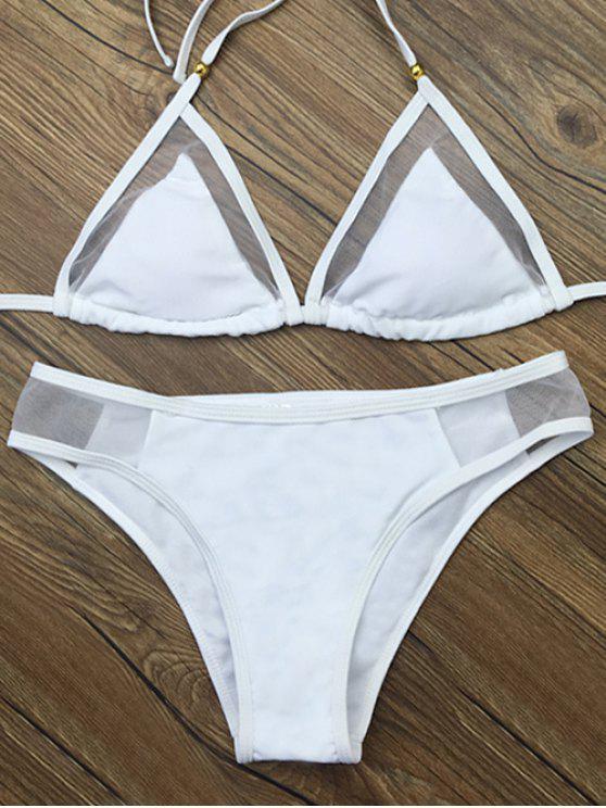 Panel de gasa ver-a través del bikini Set - Blanco S