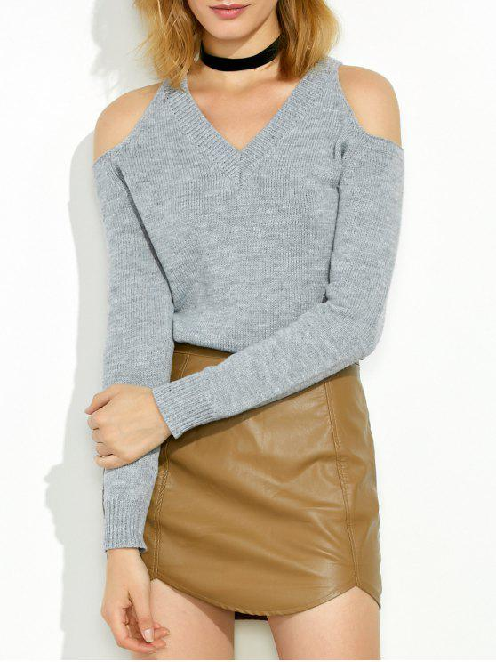 hot Cold Shoulder V Neck Pullover Sweater - GRAY XL