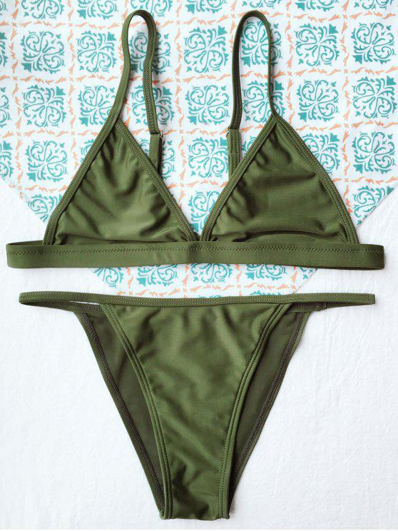 lady Tiny Unlined String Bikini Swimwear - ARMY GREEN M