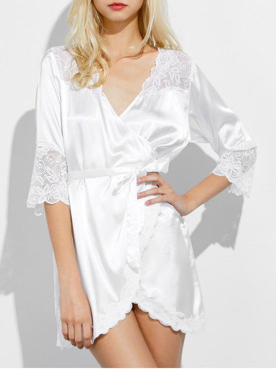 Panel de sueño traje estampado de encaje - Blanco M