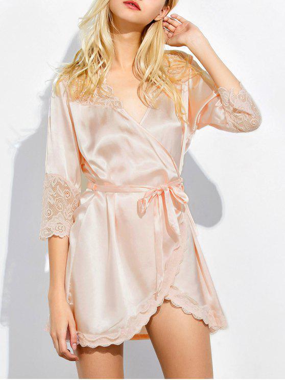 women Wrap Lace Panel Sleep Robe - SHALLOW PINK M