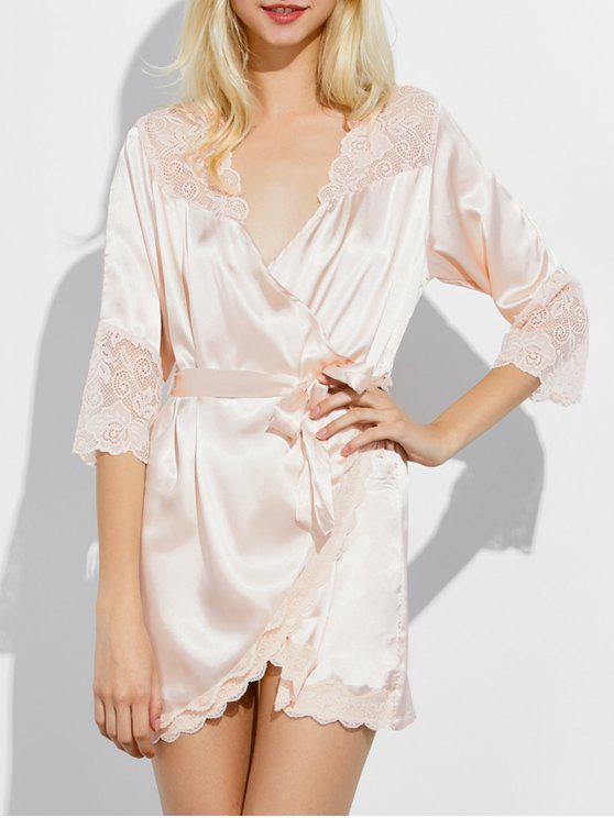 women's Wrap Lace Panel Sleep Robe - CHAMPAGNE XL