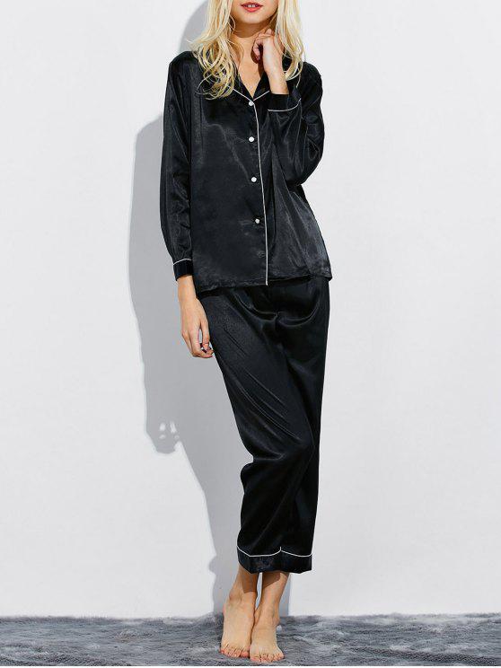 Montaje de seda ropa de dormir pijamas - Negro L