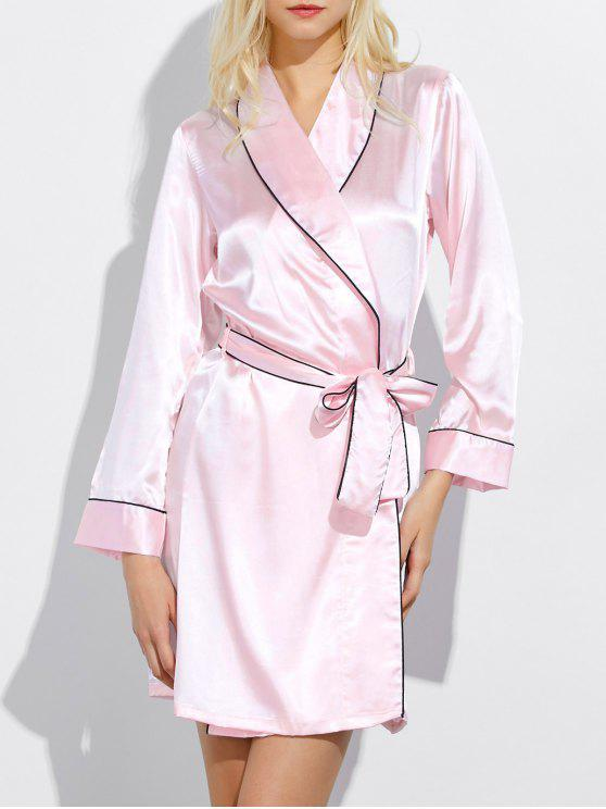 fancy Bowknot Wrap Sleep Robe - LIGHT PINK L