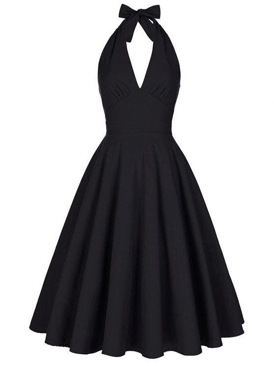 online Backless Plunge Halter Vintage Swing Skater Party Dress - BLACK S