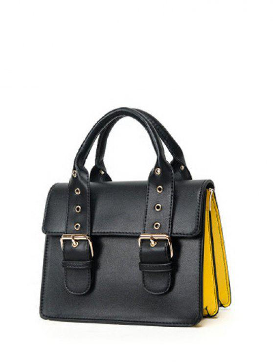 fancy Color Block Eyelets Double Buckles Crossbody Bag - BLACK