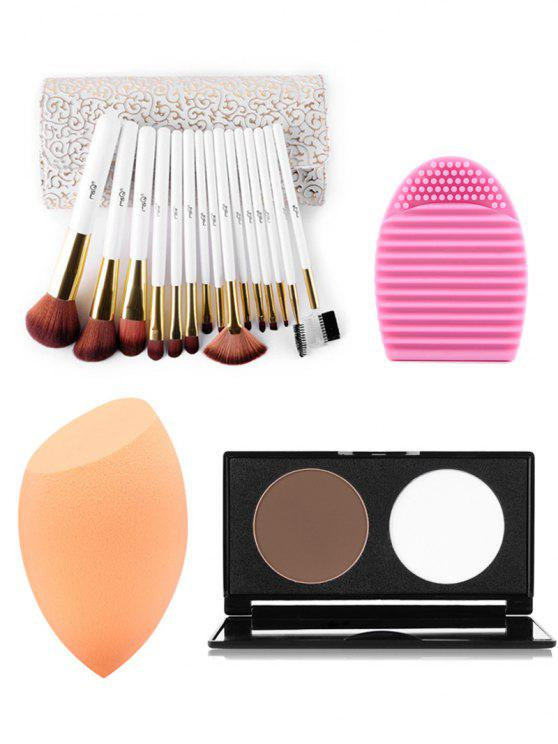 ladies Makeup Brushes Kit + Pressed Powder Kit + Makeup Sponge + Brush Egg - COLORMIX