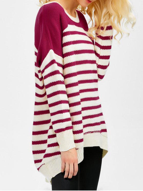 lady Striped Oversized High Low Sweater - WINE RED XL