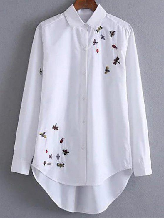 buy Long Embroidered High-Low Shirt - WHITE M