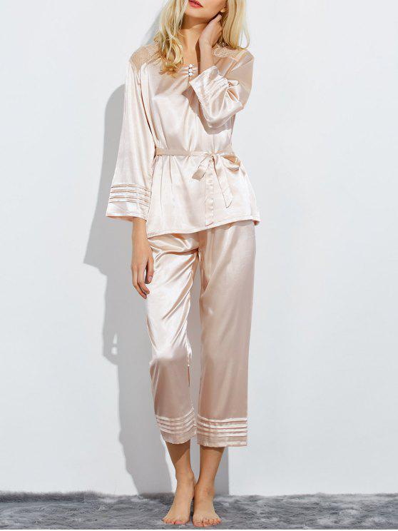 Panel Bowknot de dormir pijamas de encaje - Champán M