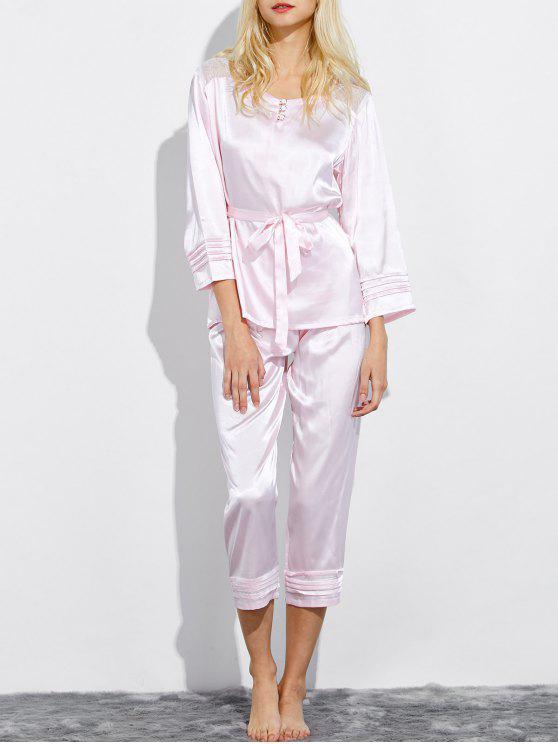 sale Lace Panel Bowknot Nightwear Pajamas - SHALLOW PINK M