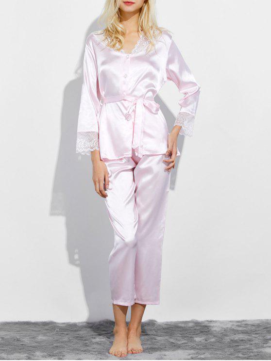 ladies Belted Lace Insert Nightwear Pajamas - LIGHT PINK M