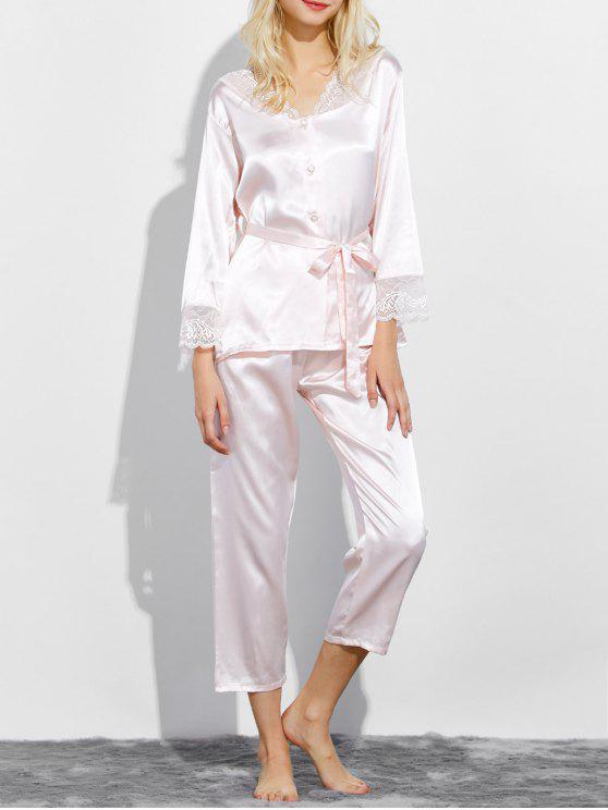 Con cinturón de encaje de inserción de dormir pijamas - Rosado Claro L